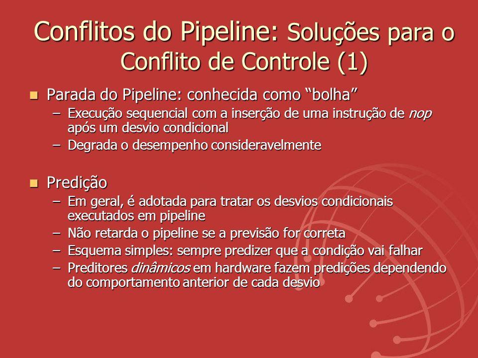Conflitos do Pipeline: Soluções para o Conflito de Controle (1) Parada do Pipeline: conhecida como bolha Parada do Pipeline: conhecida como bolha –Exe