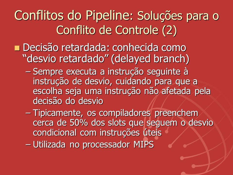 Conflitos do Pipeline : Soluções para o Conflito de Controle (2) Decisão retardada: conhecida como desvio retardado (delayed branch) Decisão retardada