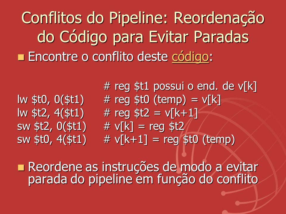 Conflitos do Pipeline: Reordenação do Código para Evitar Paradas Encontre o conflito deste código: Encontre o conflito deste código:código # reg $t1 p