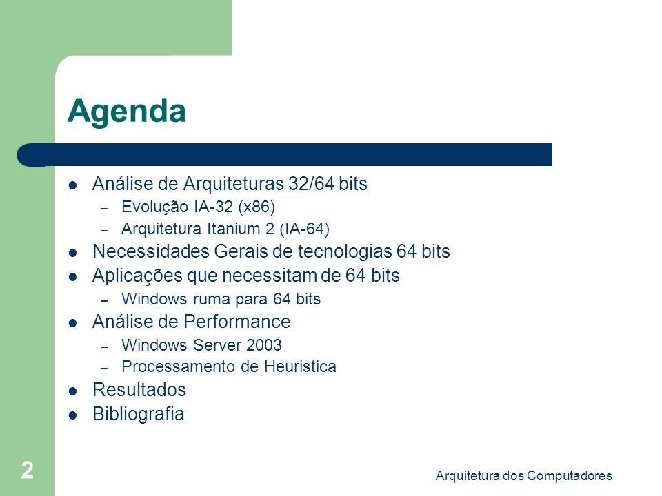 Arquitetura dos Computadores 13 ::Análise de Arquiteturas 32/64 bits:: ::Arquitetura Itanium 2 (IA-64) ::