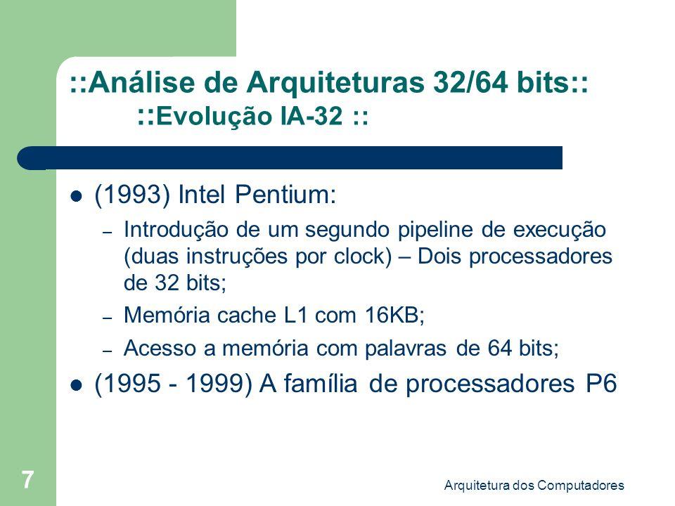 Arquitetura dos Computadores 18 Aplicações que necessitam de 64 bits Jogos Alta precisão em matemática de ponto flutuante – Análise financeira; –...