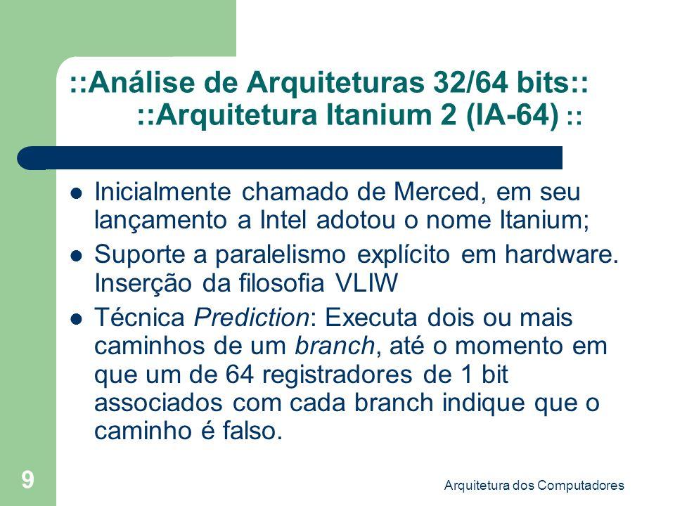 Arquitetura dos Computadores 10 ::Análise de Arquiteturas 32/64 bits:: ::Arquitetura Itanium 2 (IA-64) :: Formato das Instruções: – São empacotadas em grupos de 3 em uma palavra de 128 bits (x86: 8 a 128 bits); – O paralelismo é determinado pelo compilador e indicado explicitamente na própria palavra de instruções.