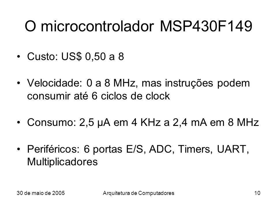 30 de maio de 2005Arquitetura de Computadores10 O microcontrolador MSP430F149 Custo: US$ 0,50 a 8 Velocidade: 0 a 8 MHz, mas instruções podem consumir