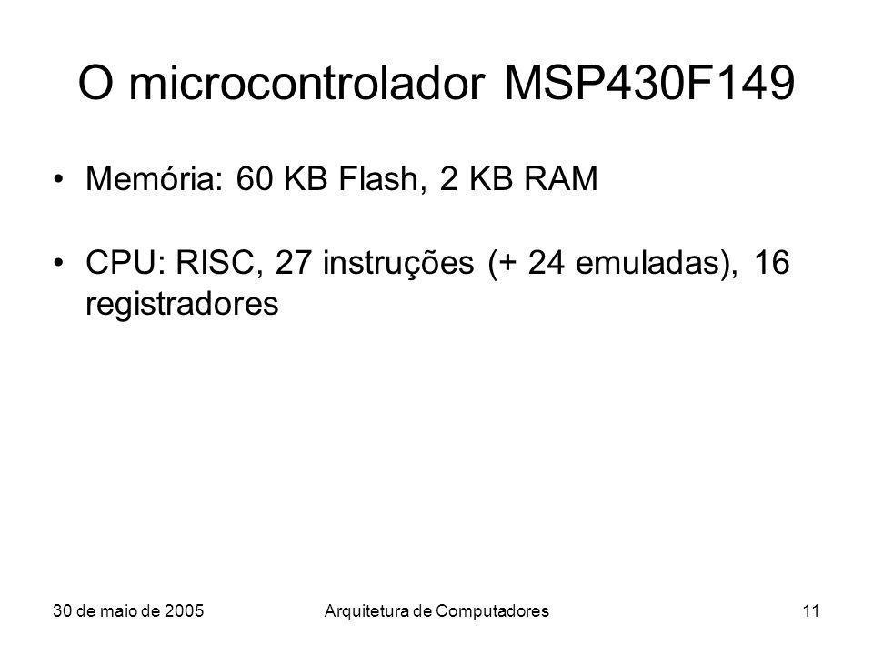 30 de maio de 2005Arquitetura de Computadores11 O microcontrolador MSP430F149 Memória: 60 KB Flash, 2 KB RAM CPU: RISC, 27 instruções (+ 24 emuladas),