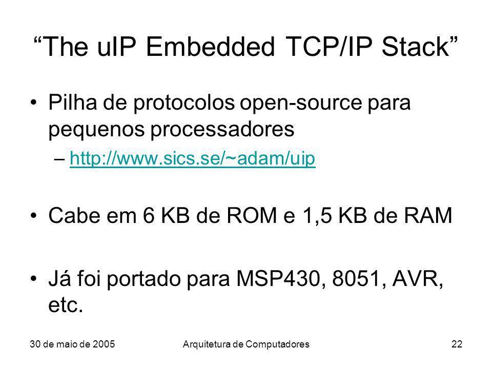 30 de maio de 2005Arquitetura de Computadores22 The uIP Embedded TCP/IP Stack Pilha de protocolos open-source para pequenos processadores –http://www.