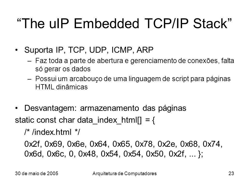30 de maio de 2005Arquitetura de Computadores23 The uIP Embedded TCP/IP Stack Suporta IP, TCP, UDP, ICMP, ARP –Faz toda a parte de abertura e gerencia