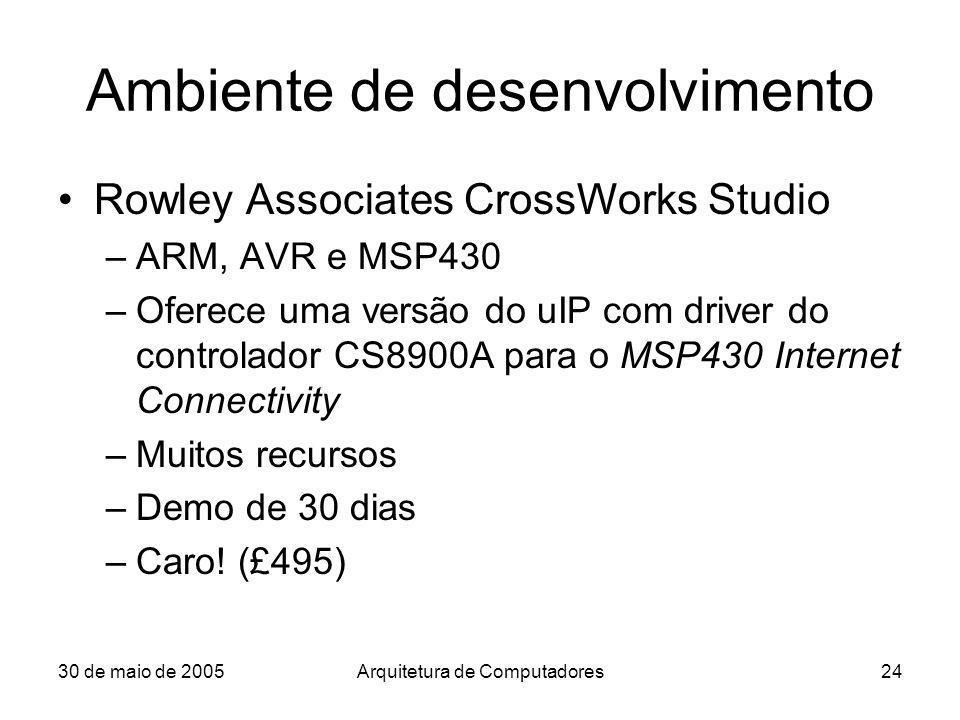30 de maio de 2005Arquitetura de Computadores24 Ambiente de desenvolvimento Rowley Associates CrossWorks Studio –ARM, AVR e MSP430 –Oferece uma versão