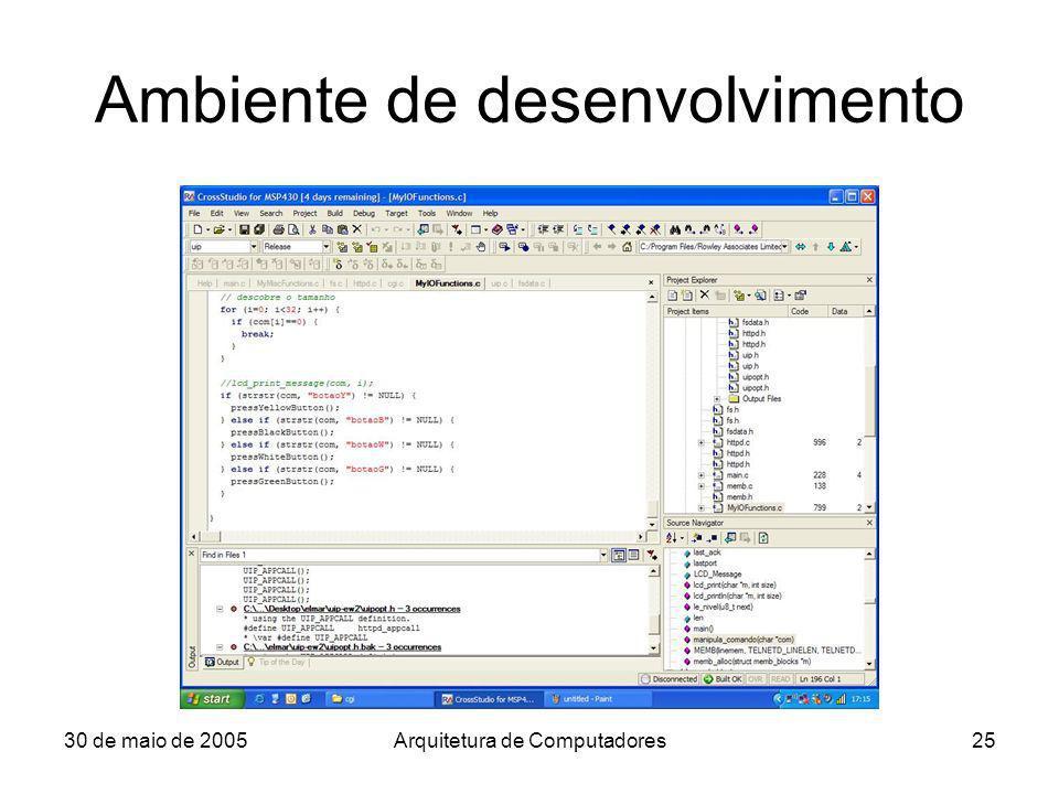 30 de maio de 2005Arquitetura de Computadores25 Ambiente de desenvolvimento