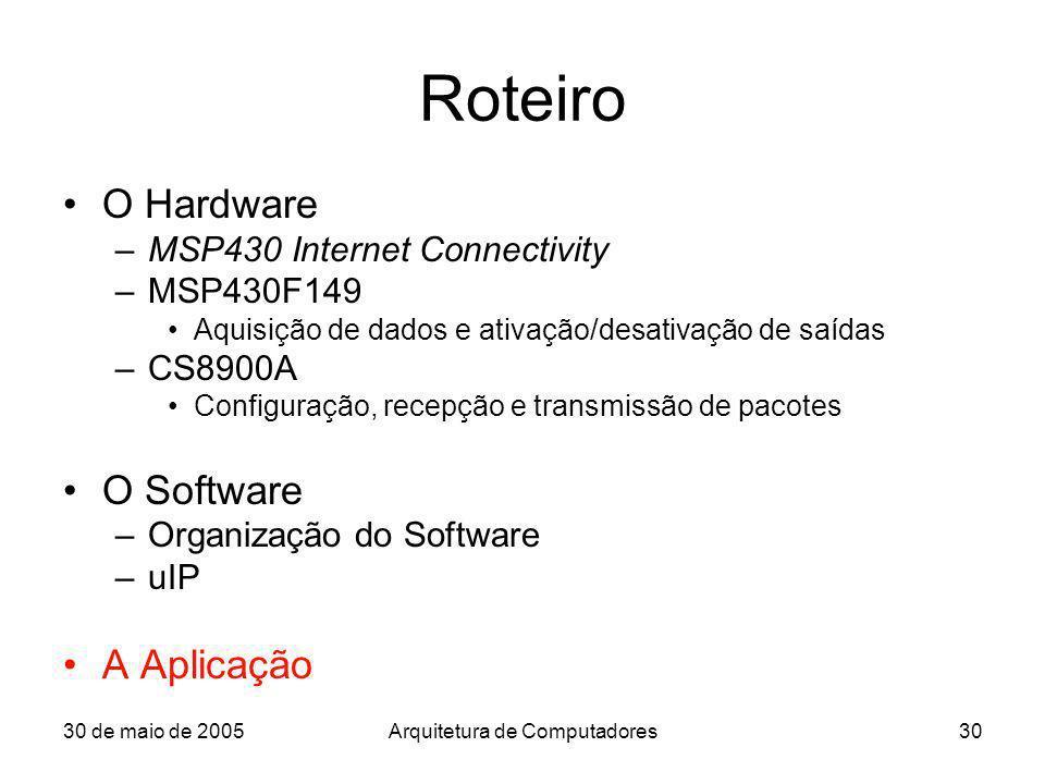 30 de maio de 2005Arquitetura de Computadores30 Roteiro O Hardware –MSP430 Internet Connectivity –MSP430F149 Aquisição de dados e ativação/desativação