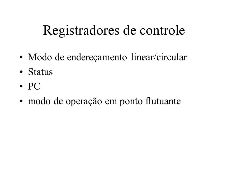 Registradores de controle Modo de endereçamento linear/circular Status PC modo de operação em ponto flutuante
