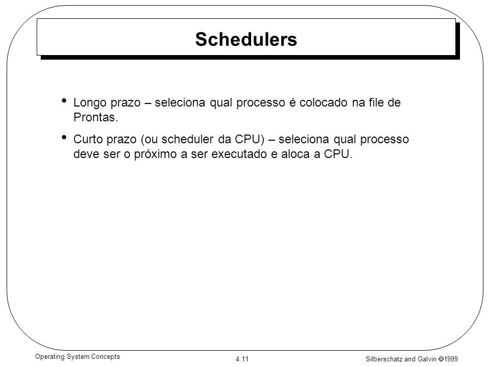 Silberschatz and Galvin 1999 4.11 Operating System Concepts Schedulers Longo prazo – seleciona qual processo é colocado na file de Prontas. Curto praz