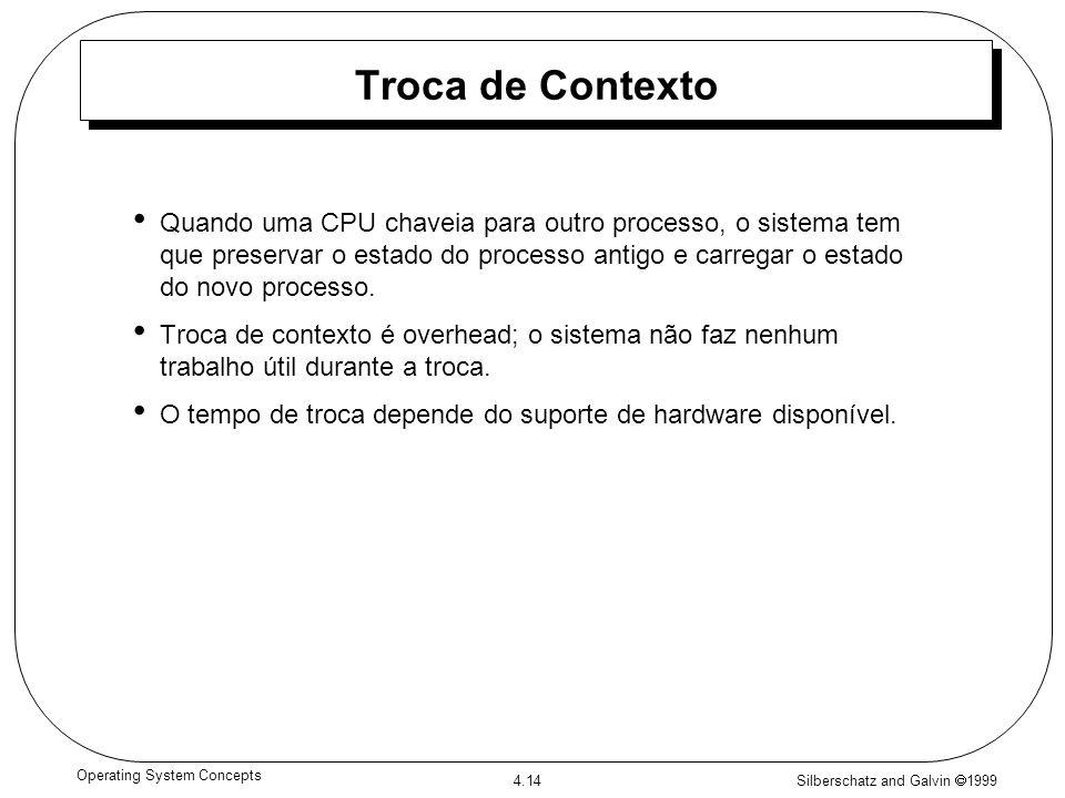 Silberschatz and Galvin 1999 4.14 Operating System Concepts Troca de Contexto Quando uma CPU chaveia para outro processo, o sistema tem que preservar