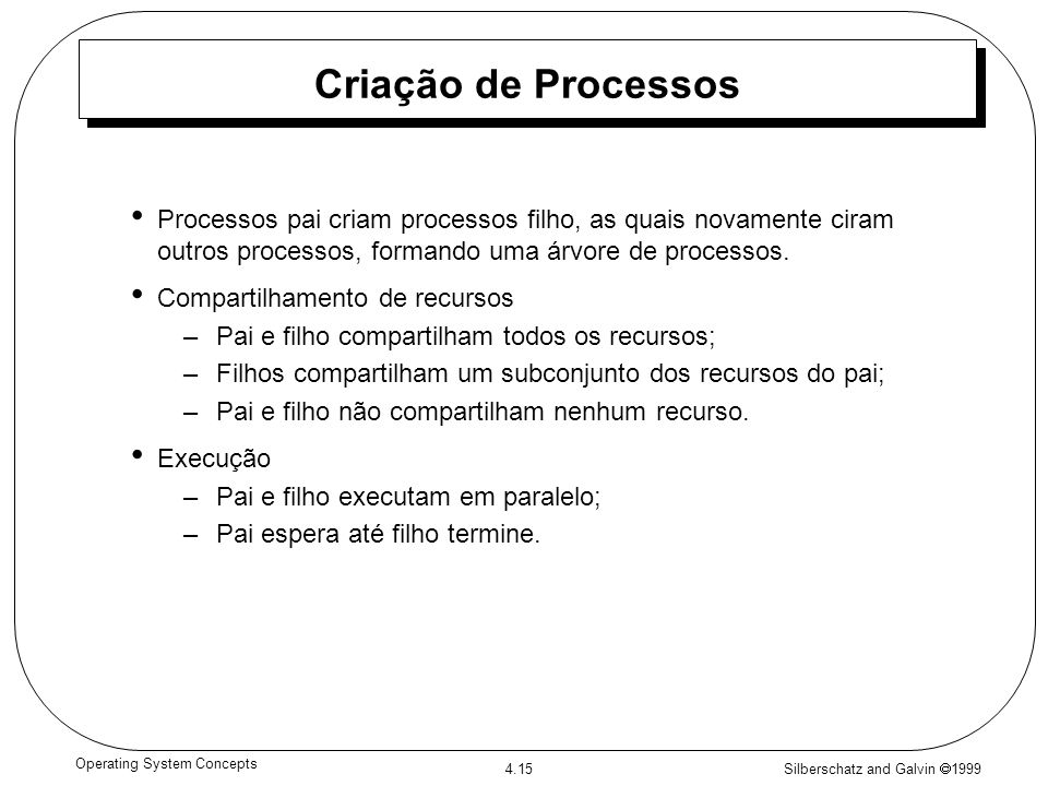 Silberschatz and Galvin 1999 4.15 Operating System Concepts Criação de Processos Processos pai criam processos filho, as quais novamente ciram outros