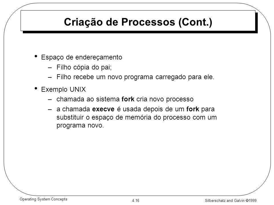 Silberschatz and Galvin 1999 4.16 Operating System Concepts Criação de Processos (Cont.) Espaço de endereçamento –Filho cópia do pai; –Filho recebe um