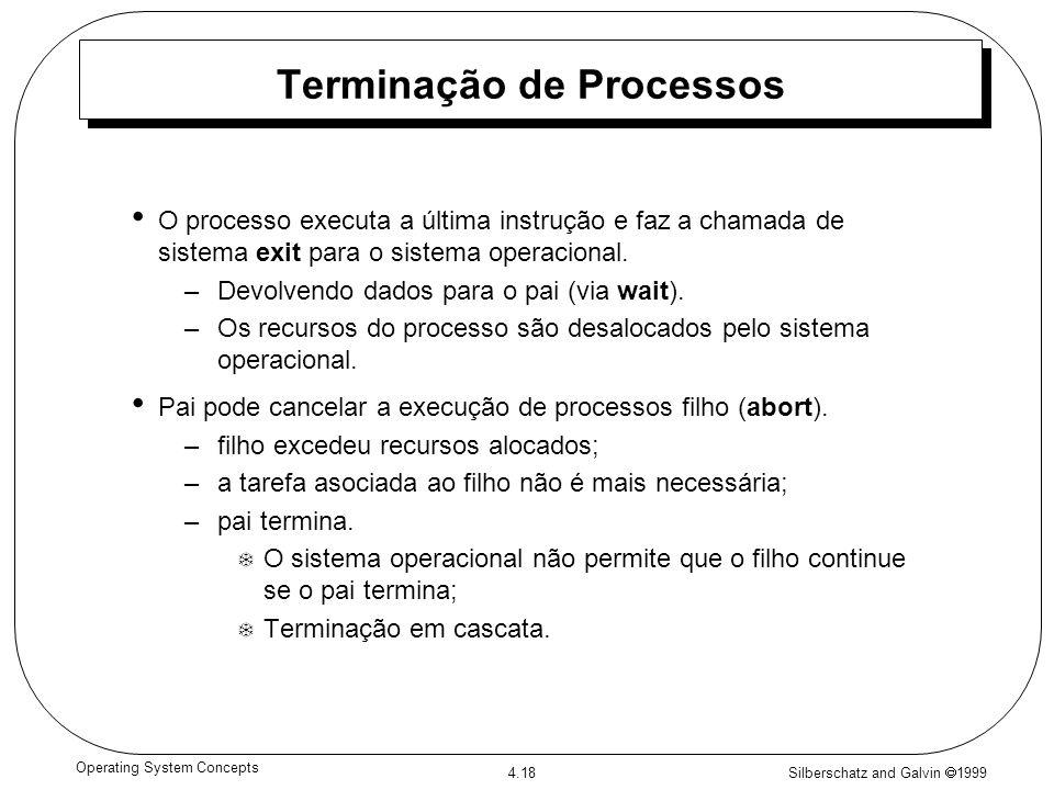 Silberschatz and Galvin 1999 4.18 Operating System Concepts Terminação de Processos O processo executa a última instrução e faz a chamada de sistema e