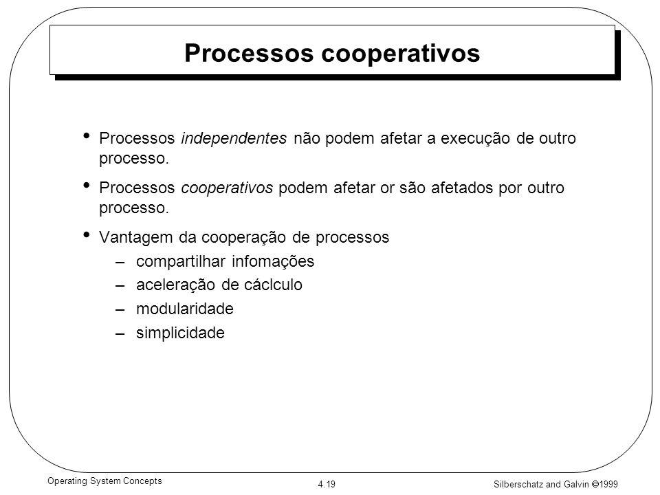 Silberschatz and Galvin 1999 4.19 Operating System Concepts Processos cooperativos Processos independentes não podem afetar a execução de outro proces