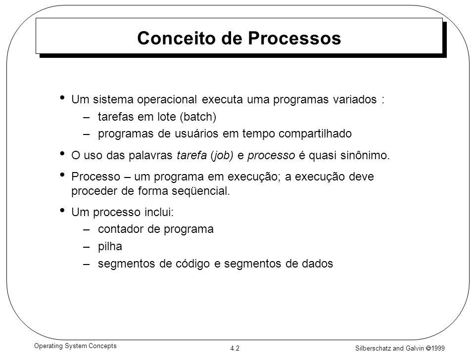 Silberschatz and Galvin 1999 4.2 Operating System Concepts Conceito de Processos Um sistema operacional executa uma programas variados : –tarefas em l