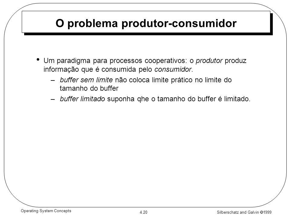 Silberschatz and Galvin 1999 4.20 Operating System Concepts O problema produtor-consumidor Um paradigma para processos cooperativos: o produtor produz