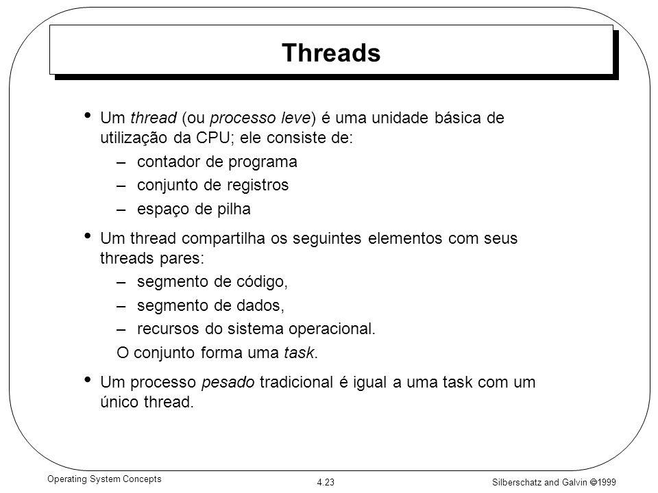 Silberschatz and Galvin 1999 4.23 Operating System Concepts Threads Um thread (ou processo leve) é uma unidade básica de utilização da CPU; ele consis