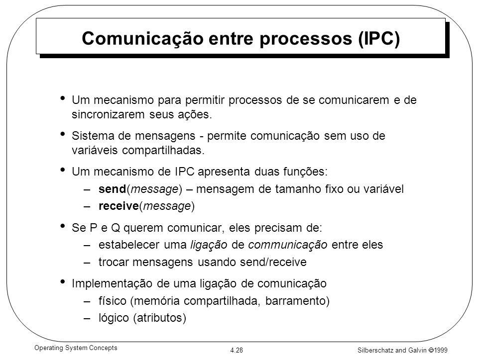 Silberschatz and Galvin 1999 4.28 Operating System Concepts Comunicação entre processos (IPC) Um mecanismo para permitir processos de se comunicarem e