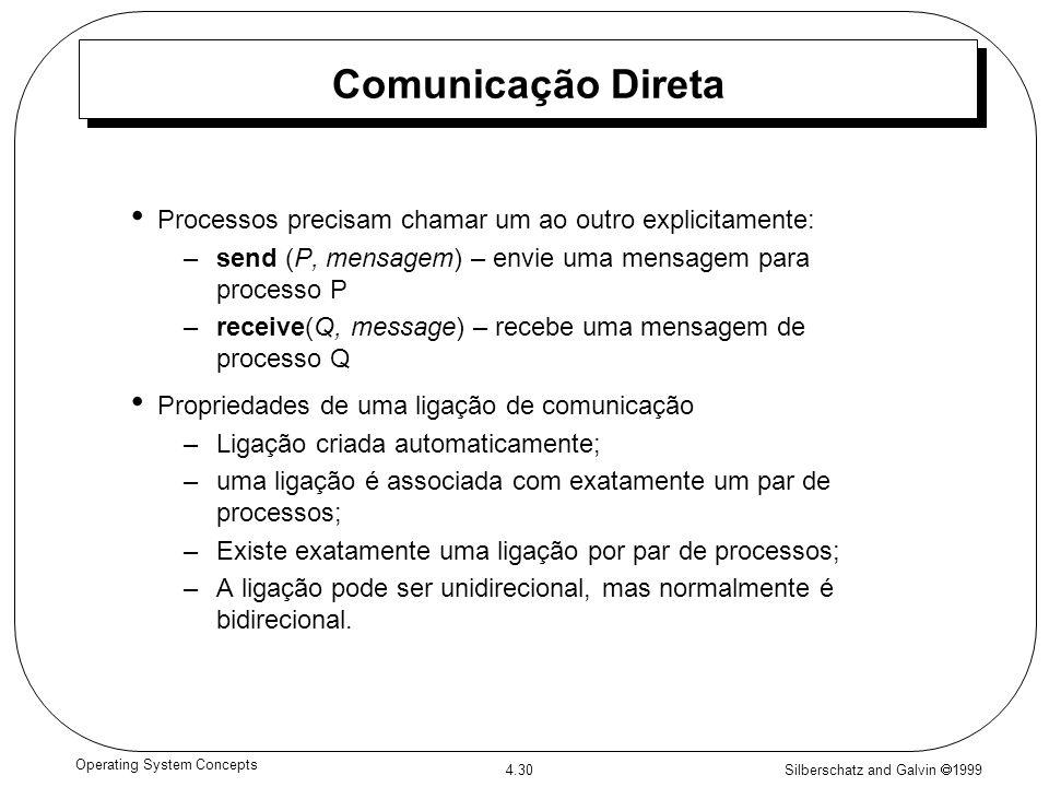 Silberschatz and Galvin 1999 4.30 Operating System Concepts Comunicação Direta Processos precisam chamar um ao outro explicitamente: –send (P, mensage
