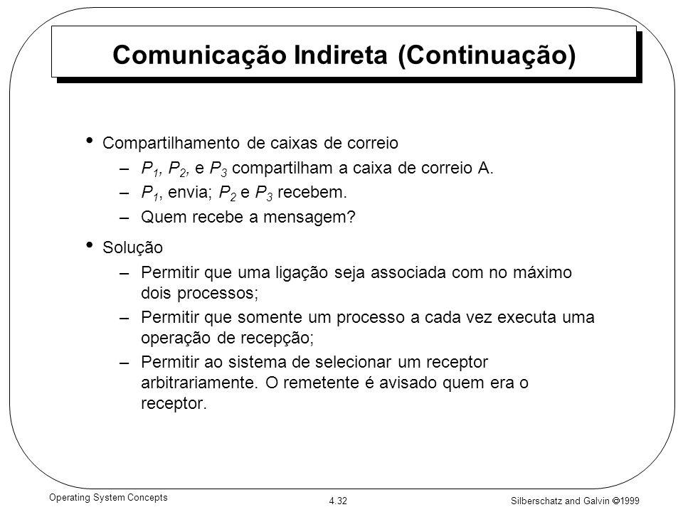 Silberschatz and Galvin 1999 4.32 Operating System Concepts Comunicação Indireta (Continuação) Compartilhamento de caixas de correio –P 1, P 2, e P 3
