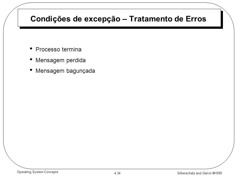 Silberschatz and Galvin 1999 4.34 Operating System Concepts Condições de excepção – Tratamento de Erros Processo termina Mensagem perdida Mensagem bag
