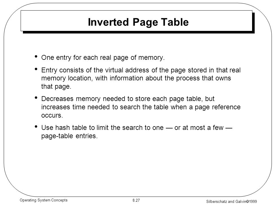 Silberschatz and Galvin 1999 8.27 Operating System Concepts Inverted Page Table One entry for each real page of memory. Entry consists of the virtual