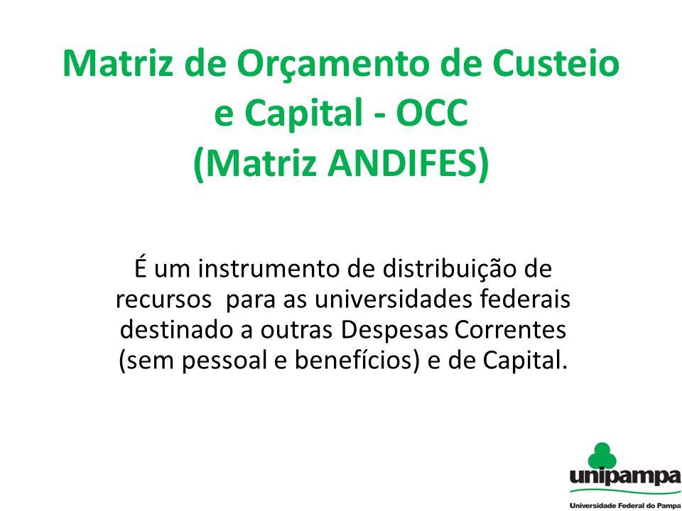 Matriz de Orçamento de Custeio e Capital - OCC (Matriz ANDIFES) É um instrumento de distribuição de recursos para as universidades federais destinado