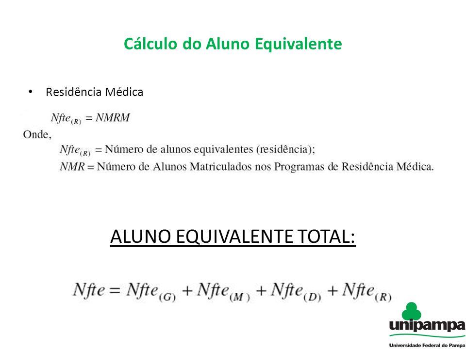Cálculo do Aluno Equivalente Residência Médica ALUNO EQUIVALENTE TOTAL:
