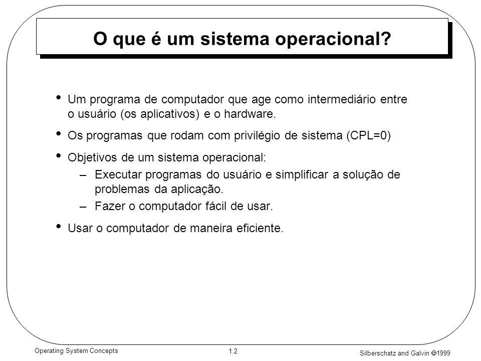 Silberschatz and Galvin 1999 1.3 Operating System Concepts Componentes de um Computador 1.Hardware – recursos materiais básicos e avançados (entrada/saída, CPU, memória; cache, segmentação, paginação).