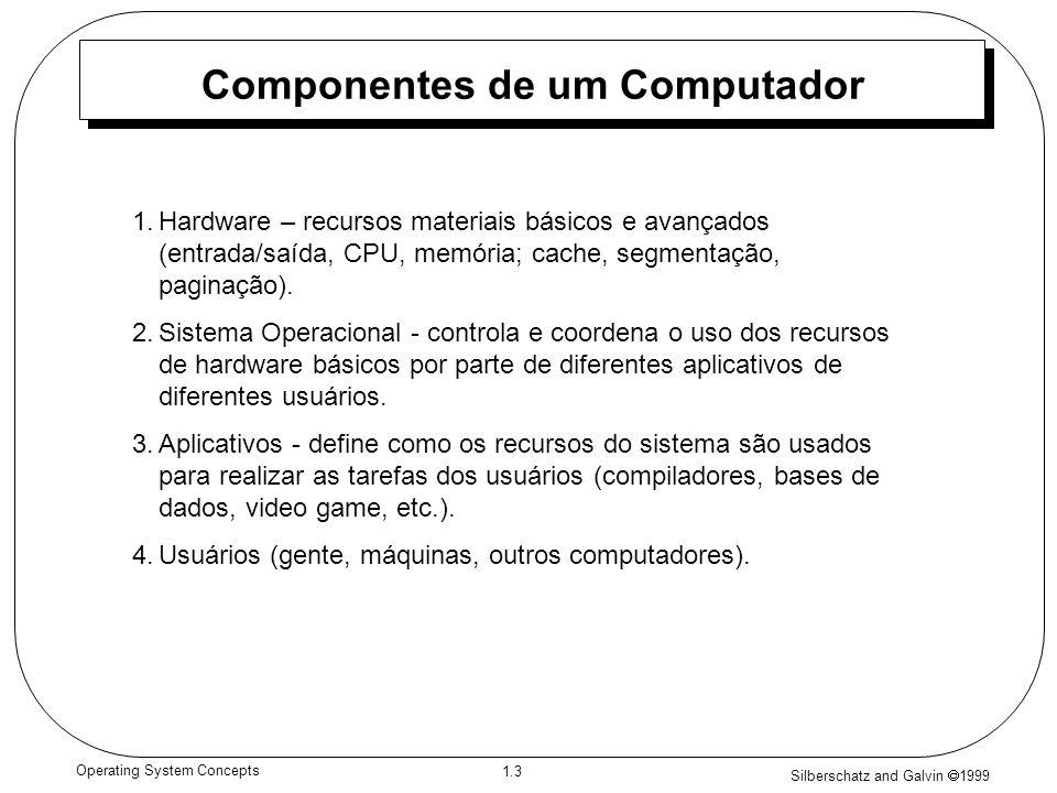 Silberschatz and Galvin 1999 1.4 Operating System Concepts Vista em camadas de um sistema computacional