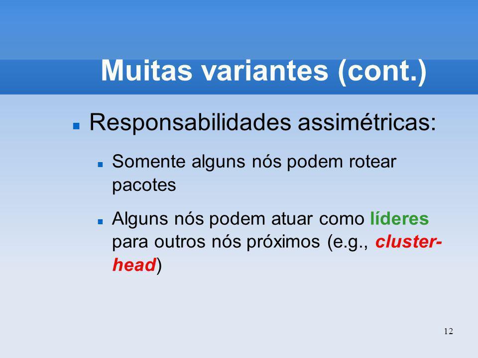 12 Muitas variantes (cont.) Responsabilidades assimétricas: Somente alguns nós podem rotear pacotes Alguns nós podem atuar como líderes para outros nó