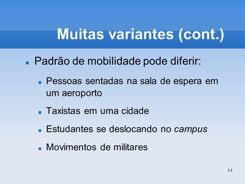14 Muitas variantes (cont.) Padrão de mobilidade pode diferir: Pessoas sentadas na sala de espera em um aeroporto Taxistas em uma cidade Estudantes se