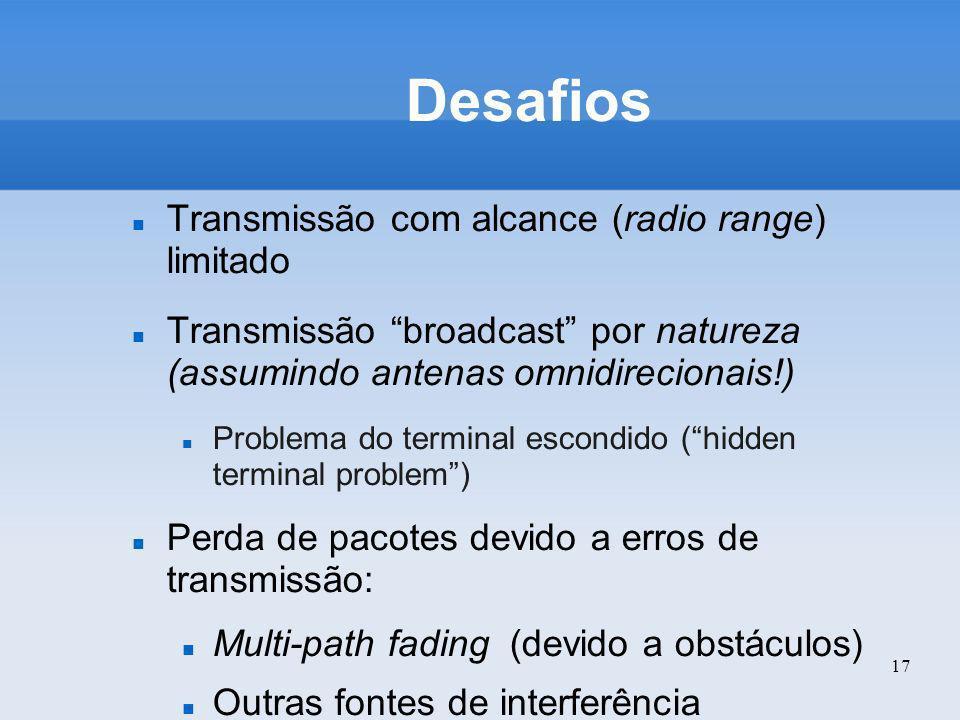 17 Desafios Transmissão com alcance (radio range) limitado Transmissão broadcast por natureza (assumindo antenas omnidirecionais!) Problema do termina
