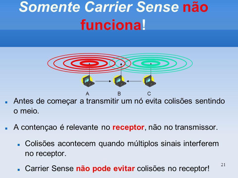 21 Somente Carrier Sense não funciona! Antes de começar a transmitir um nó evita colisões sentindo o meio. A contençao é relevante no receptor, não no