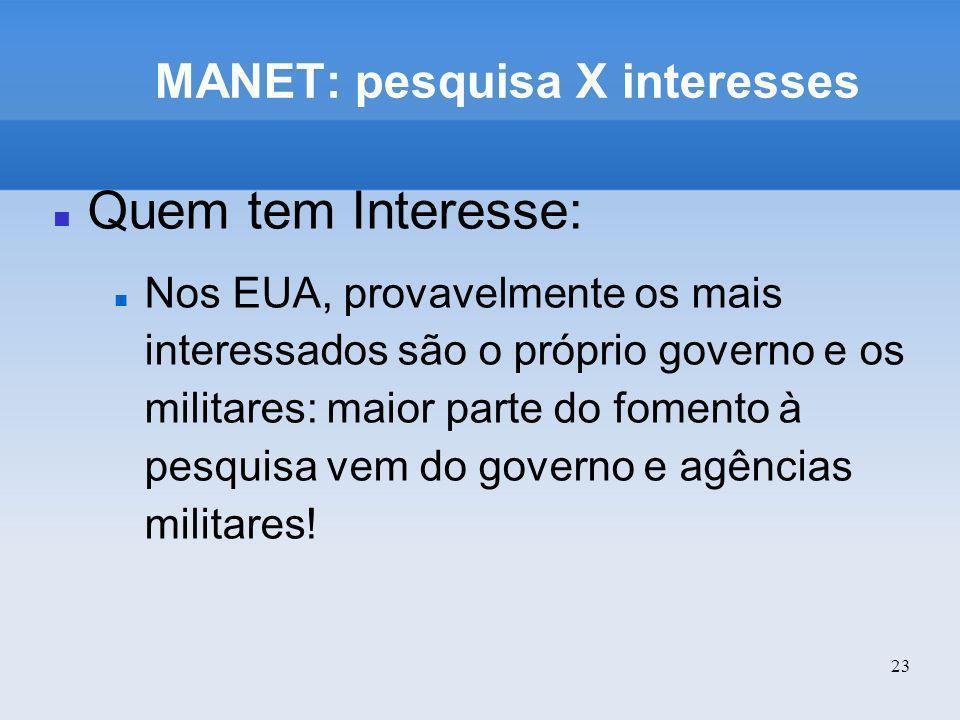 23 MANET: pesquisa X interesses Quem tem Interesse: Nos EUA, provavelmente os mais interessados são o próprio governo e os militares: maior parte do f