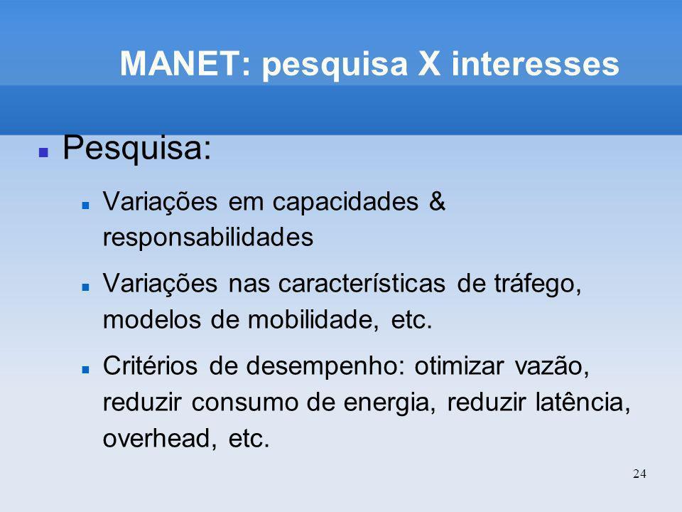 24 MANET: pesquisa X interesses Pesquisa: Variações em capacidades & responsabilidades Variações nas características de tráfego, modelos de mobilidade