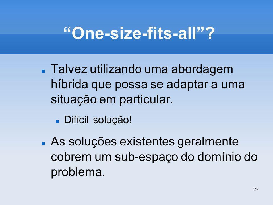 25 One-size-fits-all? Talvez utilizando uma abordagem híbrida que possa se adaptar a uma situação em particular. Difícil solução! As soluções existent