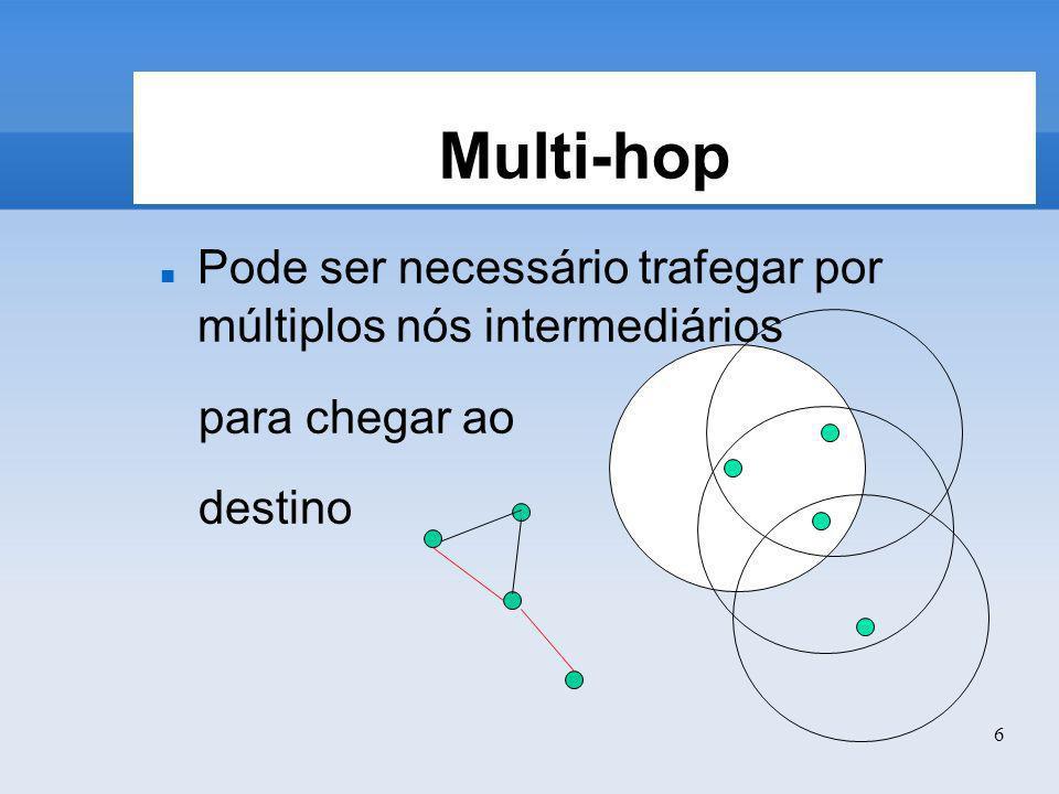 6 Multi-hop Pode ser necessário trafegar por múltiplos nós intermediários para chegar ao destino