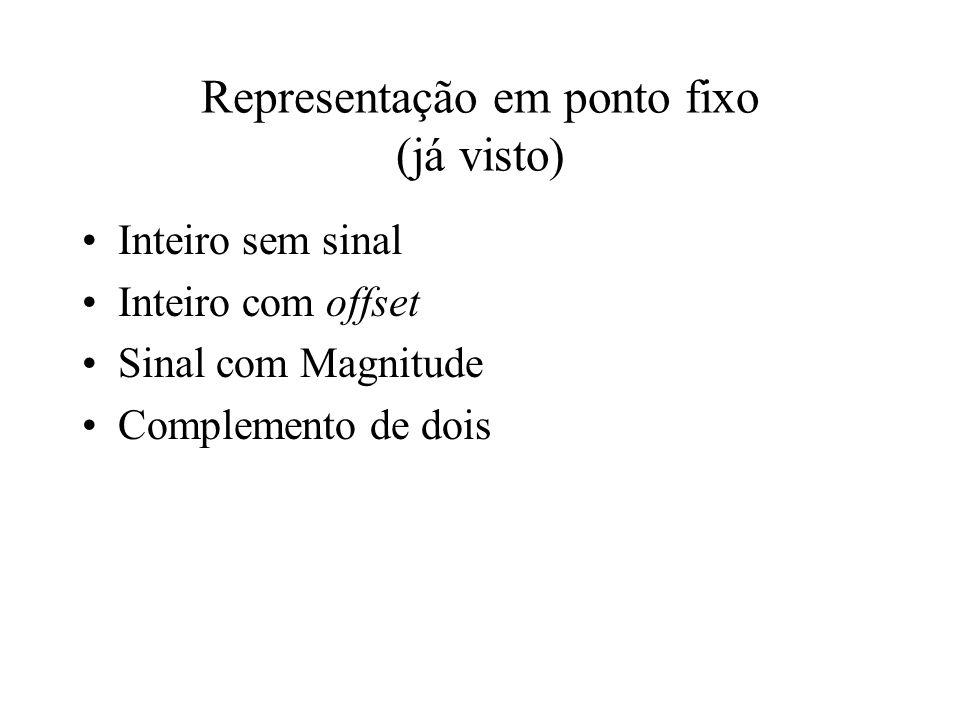 Inteiro sem sinal Inteiro com offset Sinal com Magnitude Complemento de dois Representação em ponto fixo (já visto)