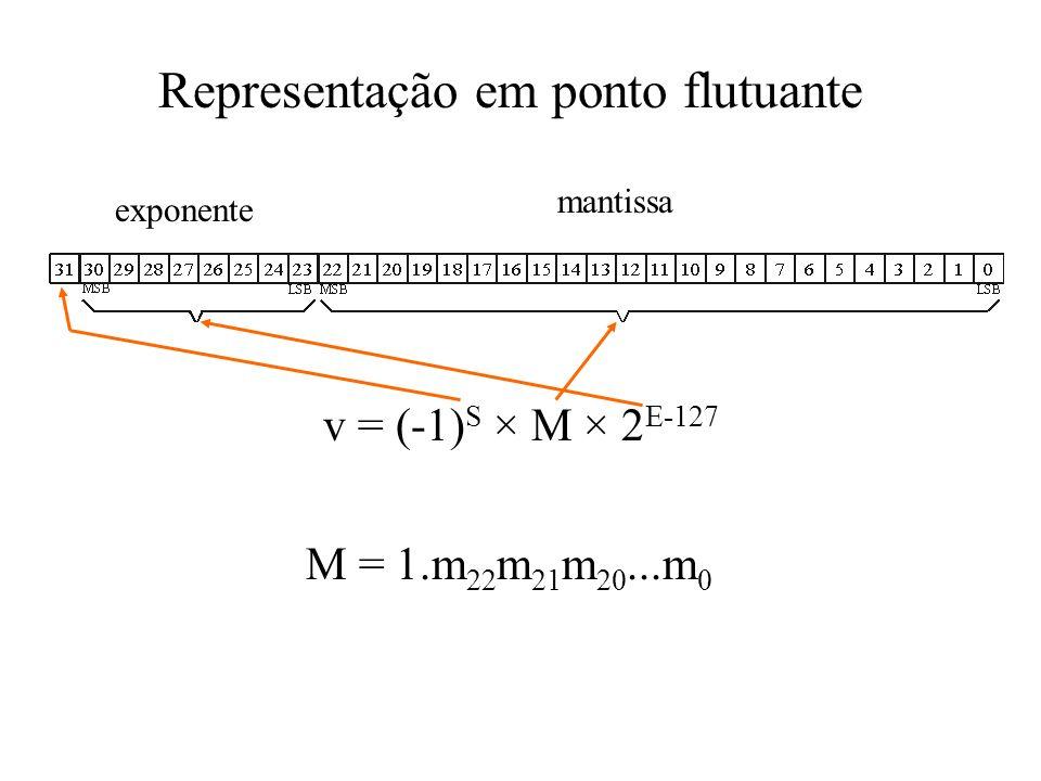 Representação em ponto flutuante v = (-1) S × M × 2 E-127 mantissa exponente M = 1.m 22 m 21 m 20...m 0