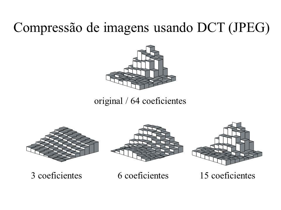 Compressão de imagens usando DCT (JPEG) 3 coeficientes6 coeficientes15 coeficientes original / 64 coeficientes