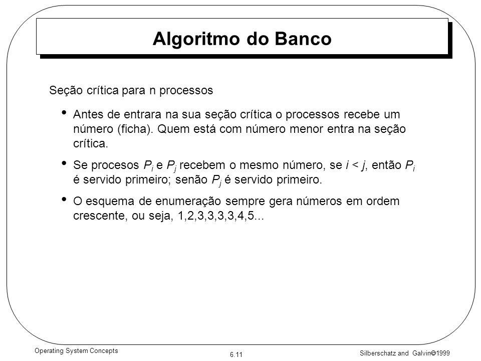 Silberschatz and Galvin 1999 6.11 Operating System Concepts Algoritmo do Banco Antes de entrara na sua seção crítica o processos recebe um número (ficha).