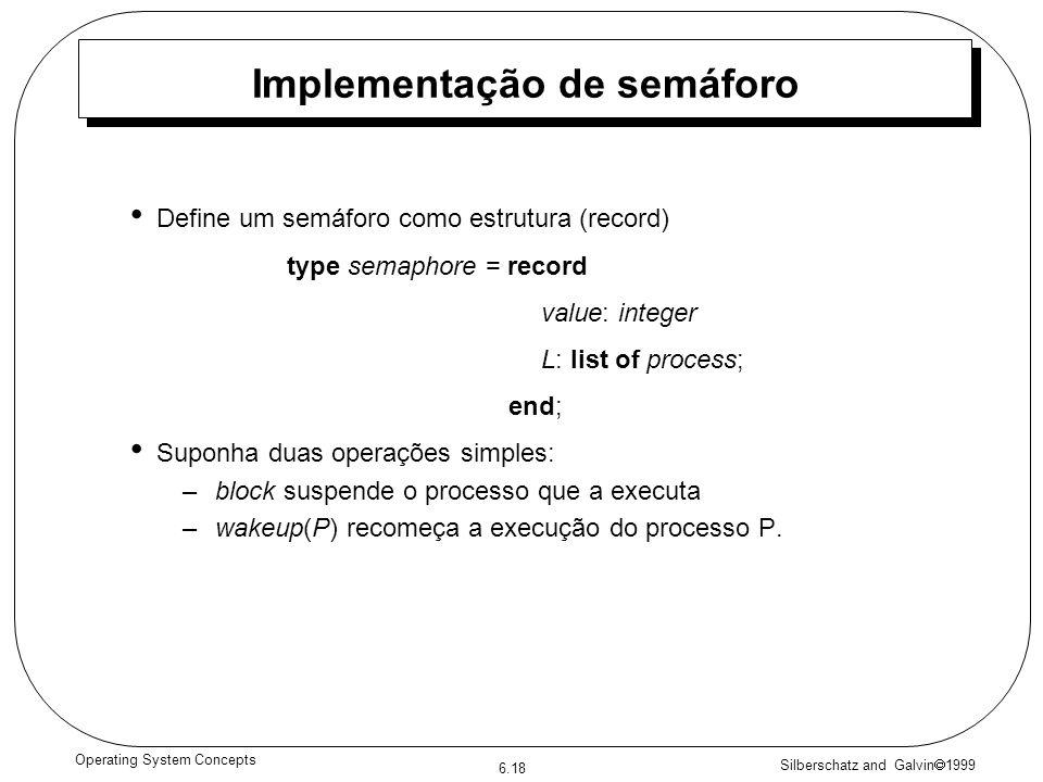 Silberschatz and Galvin 1999 6.18 Operating System Concepts Implementação de semáforo Define um semáforo como estrutura (record) type semaphore = record value: integer L: list of process; end; Suponha duas operações simples: –block suspende o processo que a executa –wakeup(P) recomeça a execução do processo P.