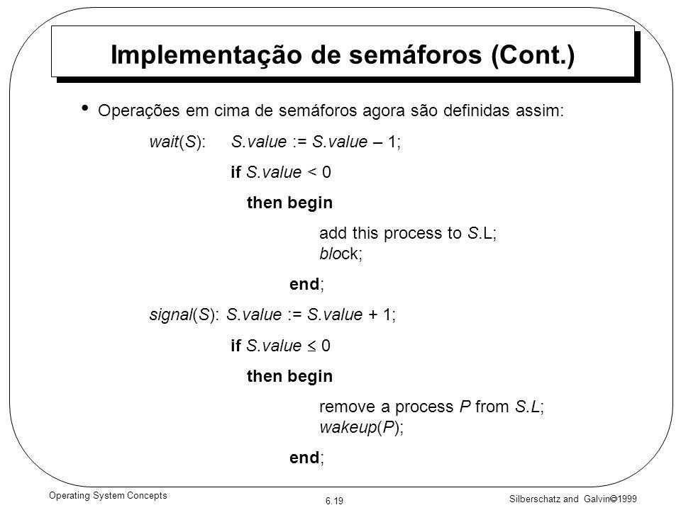 Silberschatz and Galvin 1999 6.19 Operating System Concepts Implementação de semáforos (Cont.) Operações em cima de semáforos agora são definidas assi