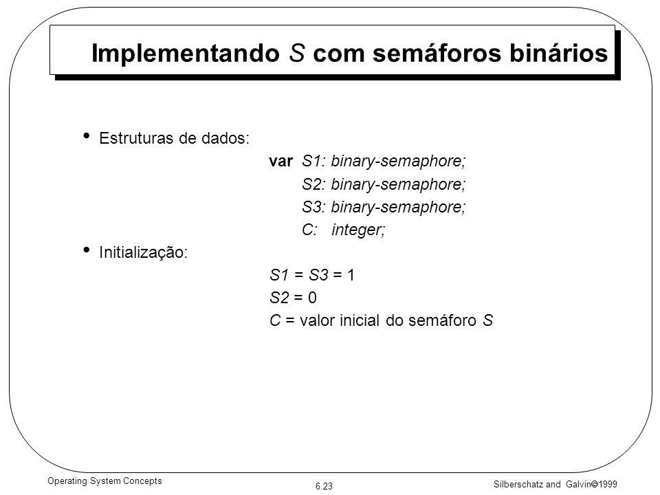 Silberschatz and Galvin 1999 6.23 Operating System Concepts Implementando S com semáforos binários Estruturas de dados: varS1: binary-semaphore; S2: binary-semaphore; S3: binary-semaphore; C: integer; Initialização: S1 = S3 = 1 S2 = 0 C = valor inicial do semáforo S