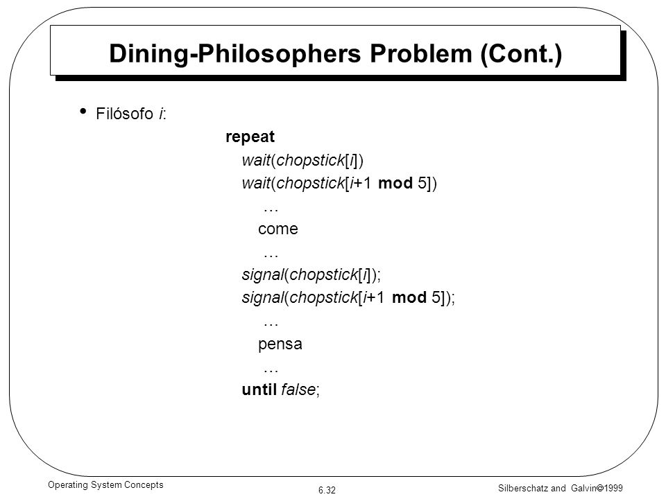 Silberschatz and Galvin 1999 6.32 Operating System Concepts Dining-Philosophers Problem (Cont.) Filósofo i: repeat wait(chopstick[i]) wait(chopstick[i+1 mod 5]) … come … signal(chopstick[i]); signal(chopstick[i+1 mod 5]); … pensa … until false;