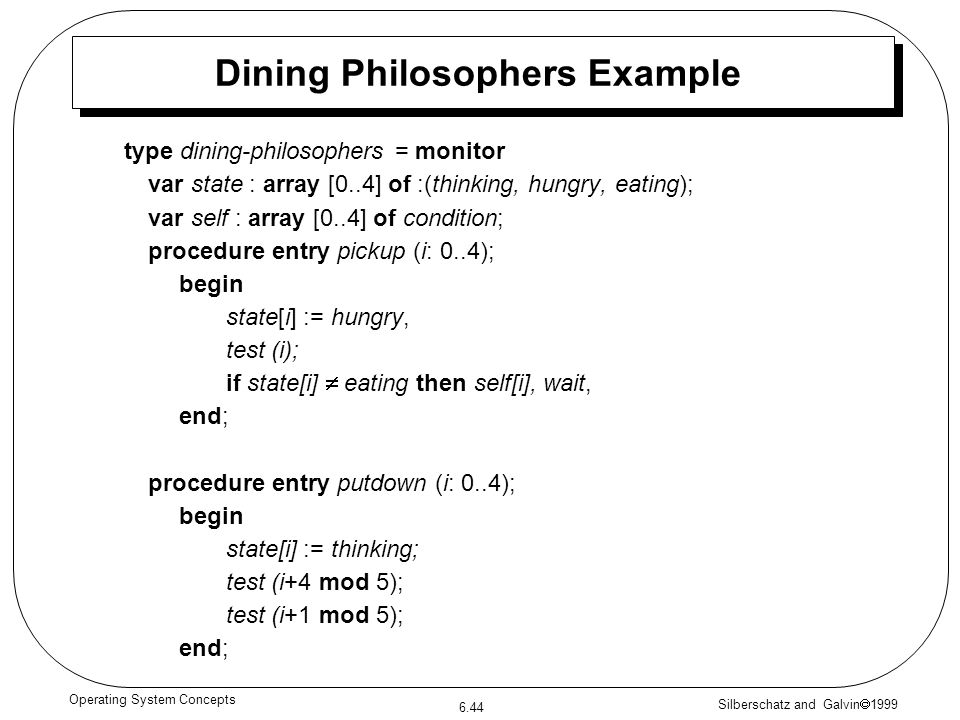 Silberschatz and Galvin 1999 6.44 Operating System Concepts type dining-philosophers = monitor var state : array [0..4] of :(thinking, hungry, eating)