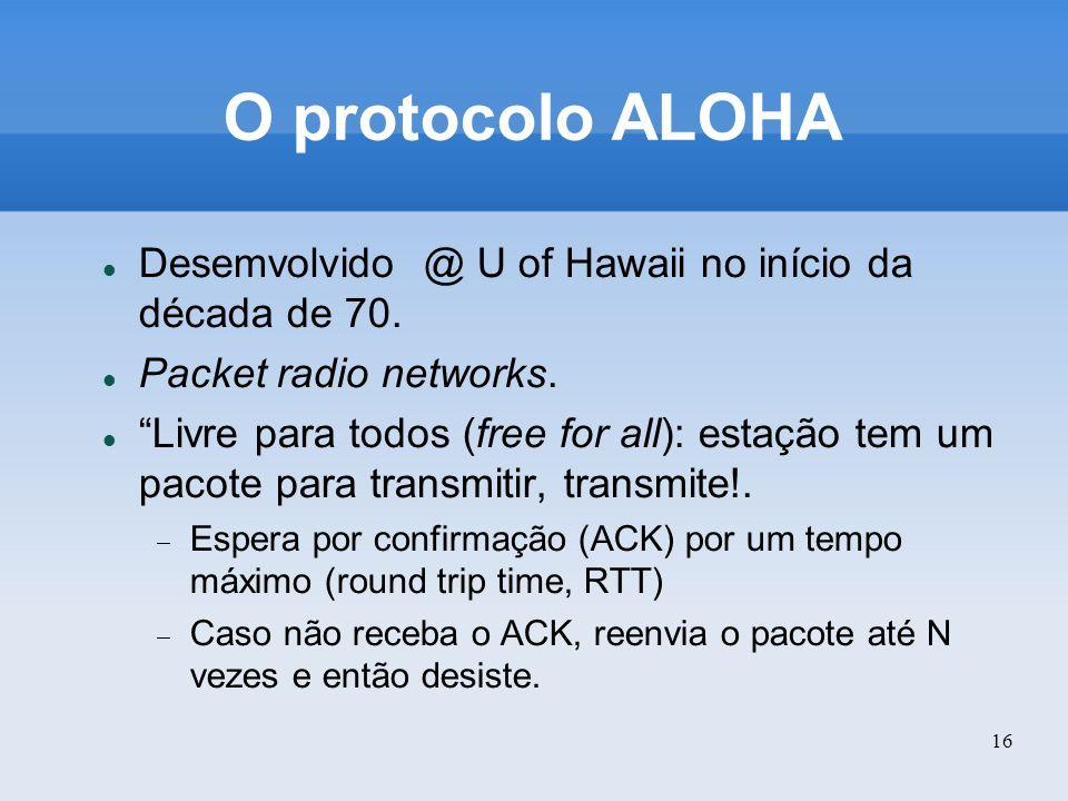 16 O protocolo ALOHA Desemvolvido @ U of Hawaii no início da década de 70. Packet radio networks. Livre para todos (free for all): estação tem um paco